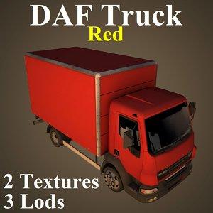 3D daf truck red model