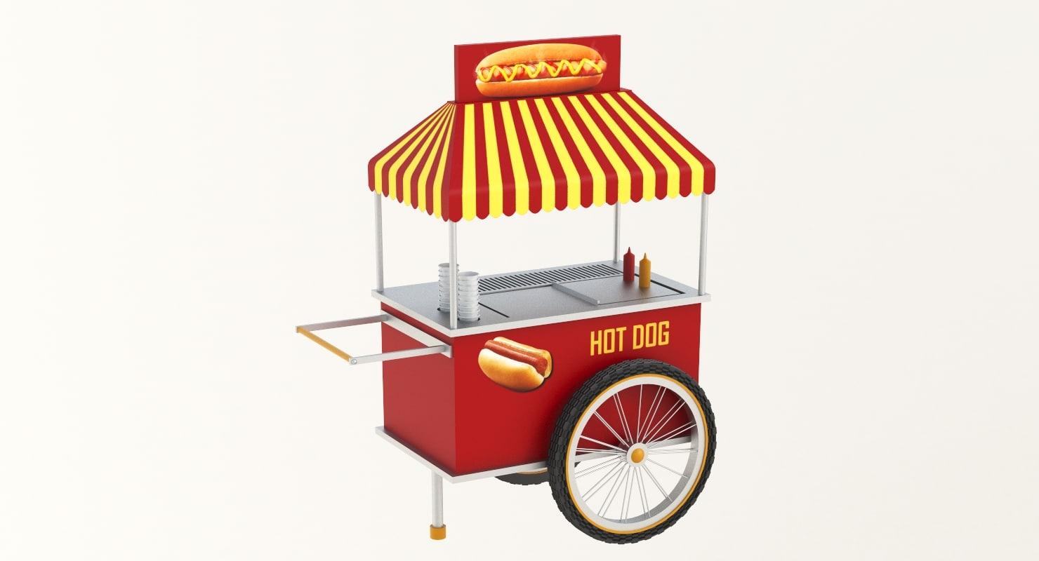 3D hot dog cart model