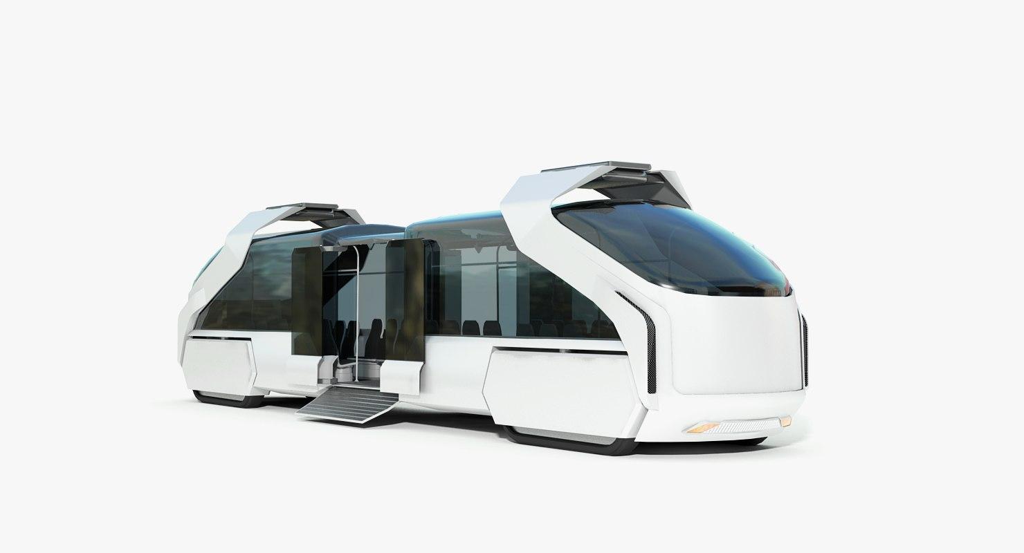 3D hybrid sci-fi train-bus concept