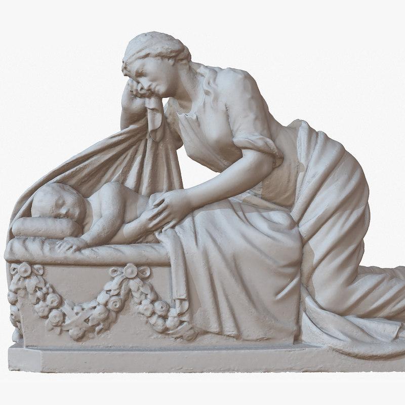 3D model sculpture mother child 1m
