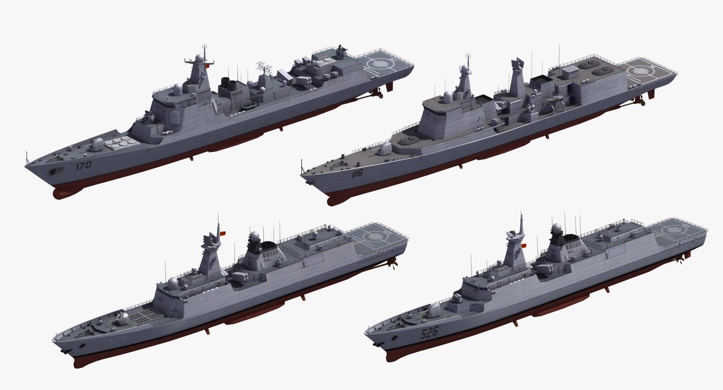 chinese warships naval ship 3D model