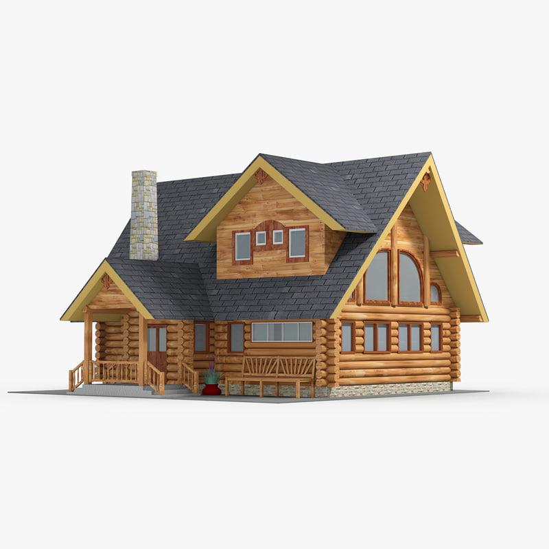 rustic log cabin model