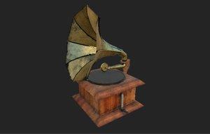 vintage gramophone 3D model