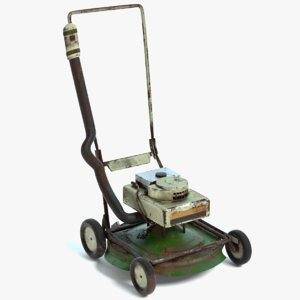 3D old lawn mower model