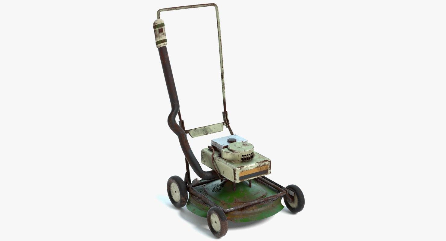 3D old lawn mower model