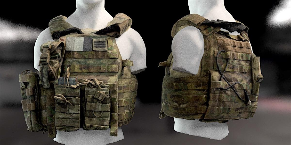 3D bulletproof vest military model