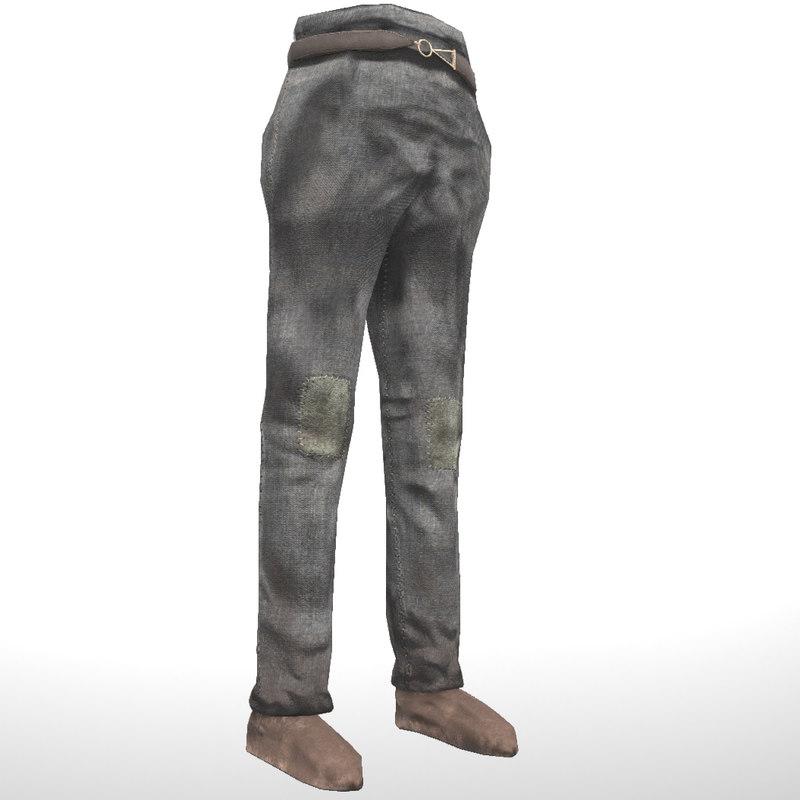 3D model pants shoes