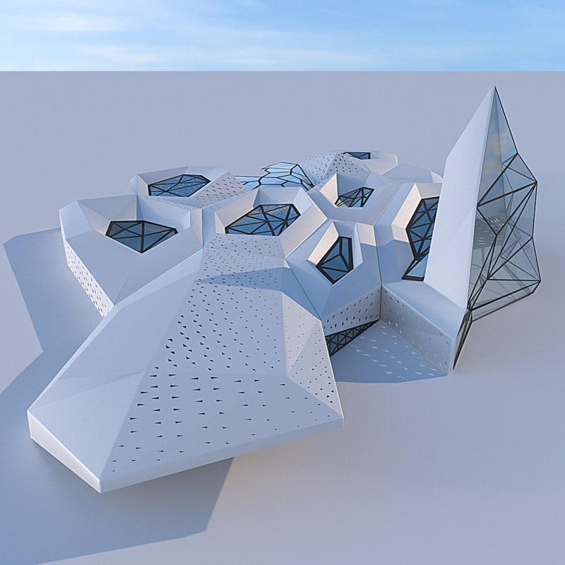 futuristic building 3 3D model