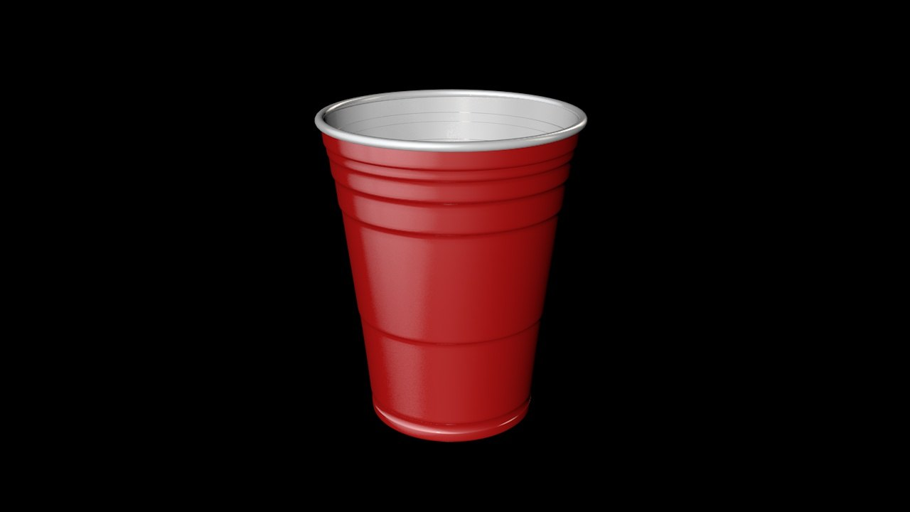 3D model red plastic cup