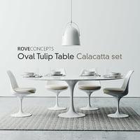 "Oval Tulip Table 78"" Calacatta set"