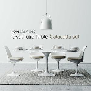 rove set tulip table 3D