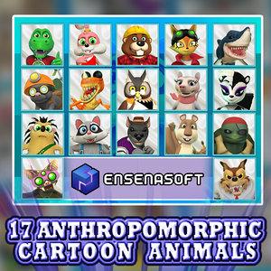 17 anthropomorphic cartoon animals 3D model