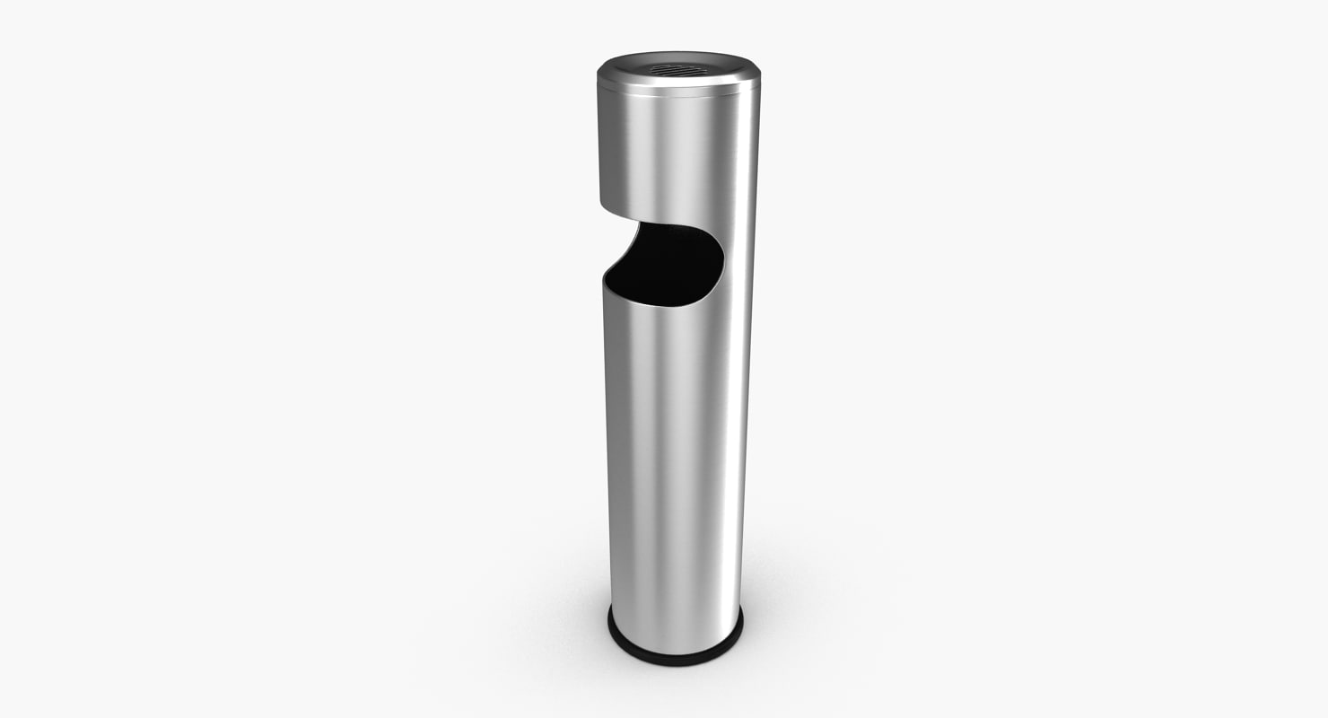 3D outdoor ashtray stainless steel model