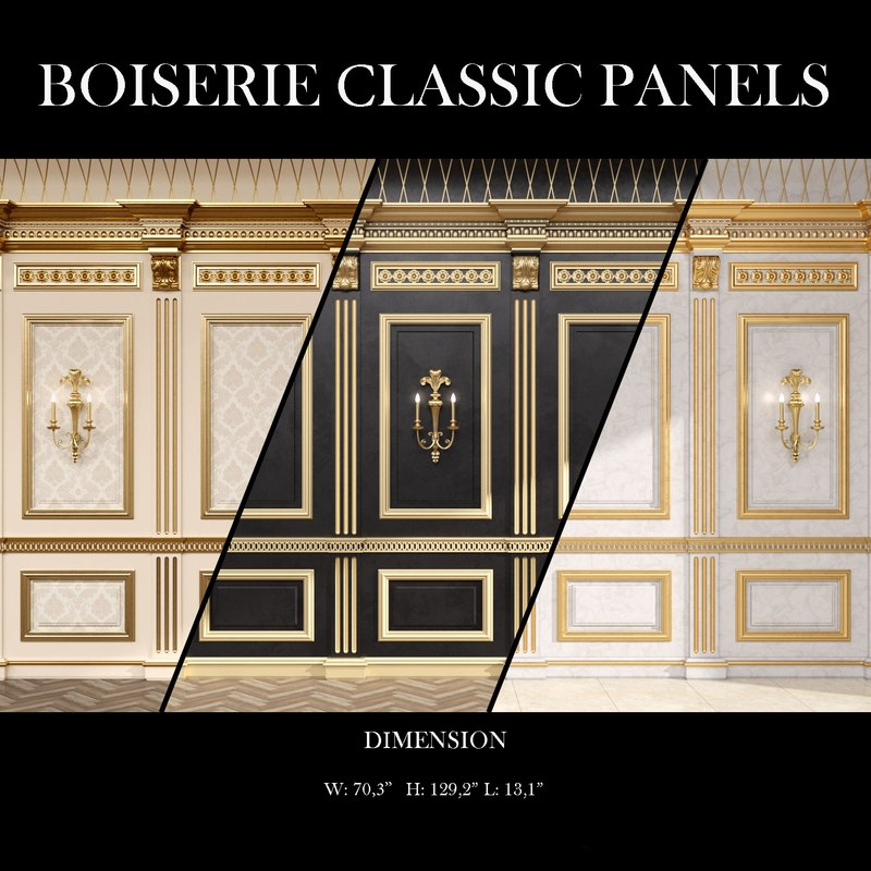 3D model boiserie classic panels decorative