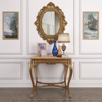 Set decor_Antique French onyx table and Antique gold mirror & lamp