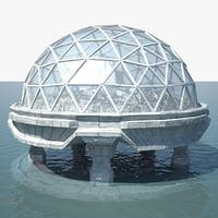 3D ocean dome city model