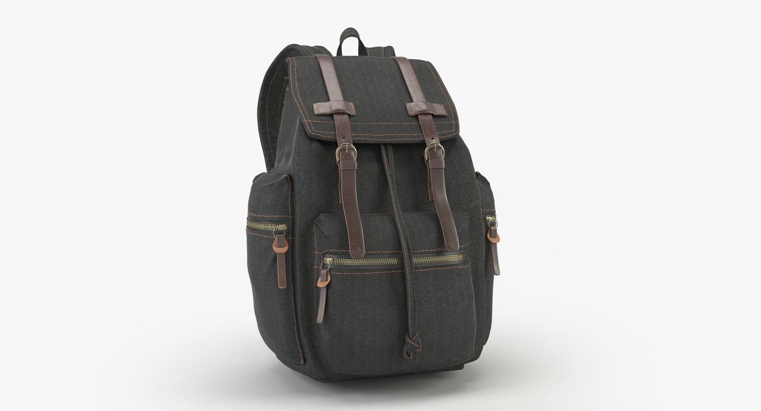 3D model backpack leather materials