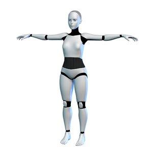 3D cyborg girl model