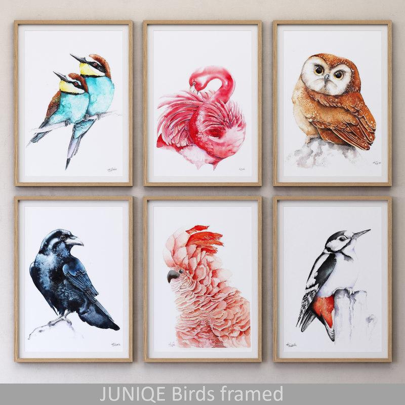 juniqe birds framed 3D model