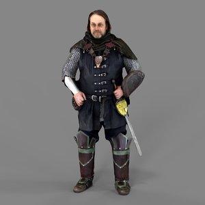 3D medival knight model