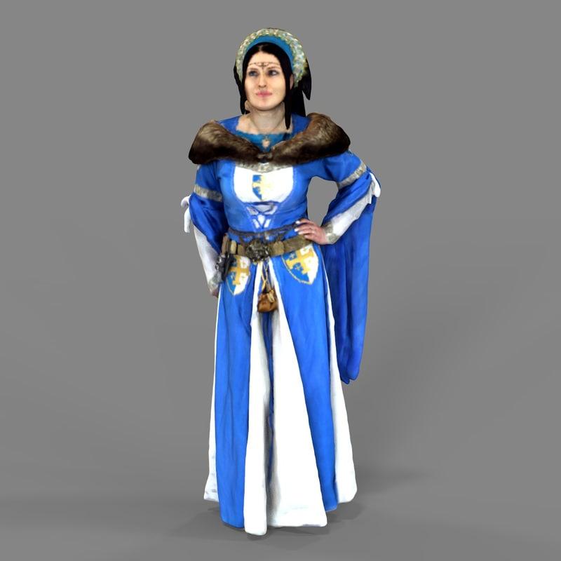 3D model medieval woman