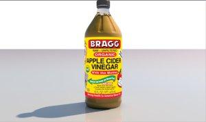 3D vinegar bottle glass