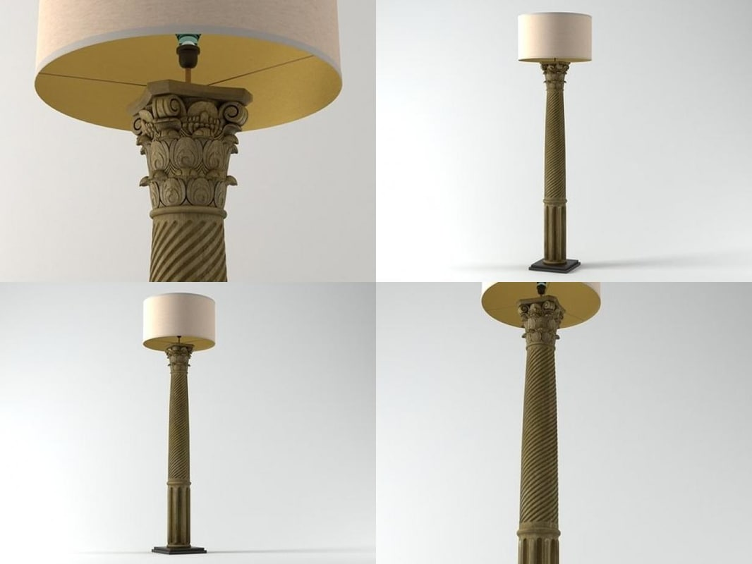 3D corinthian column floor lamp