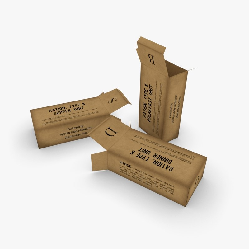 3D army k-rations boxes model