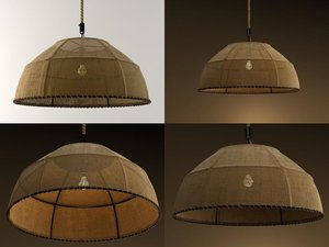 3D burlap dome pendant lamp