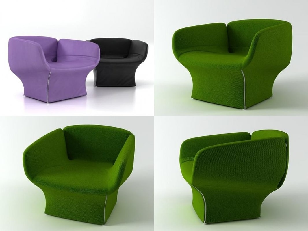 3D bloomy armchair model