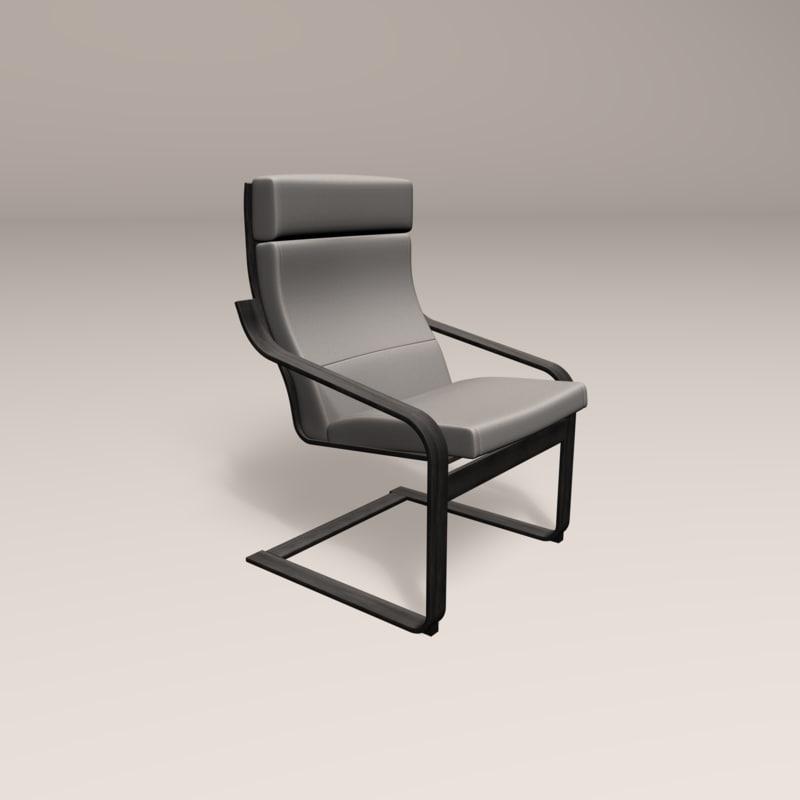 3D modern black wooden chair