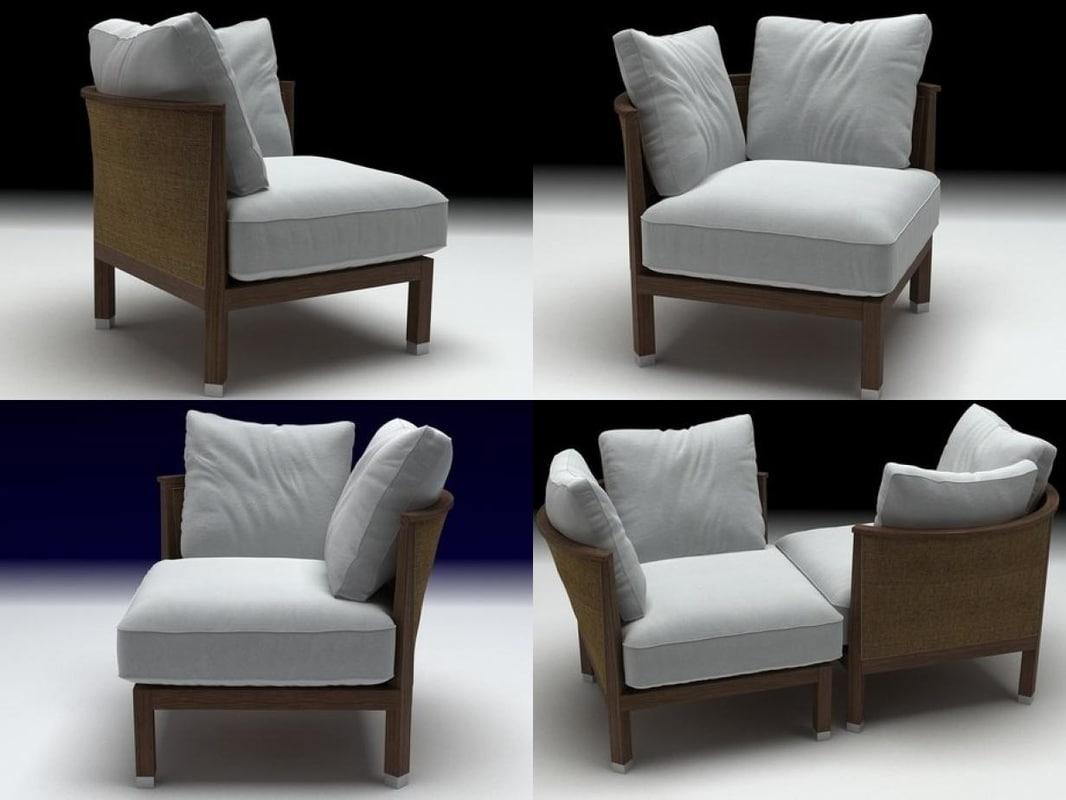3D rosetta small armchair