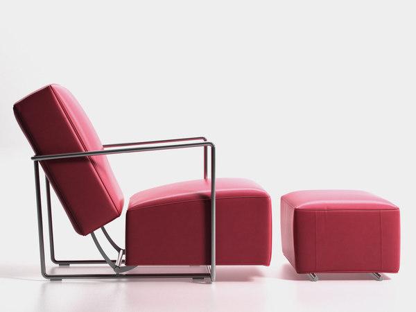 3D b c armchair ottoman model