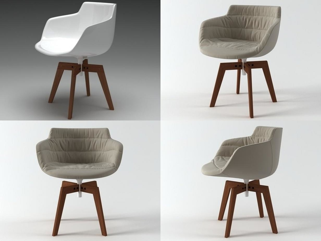 flow armchair oak base 3D model