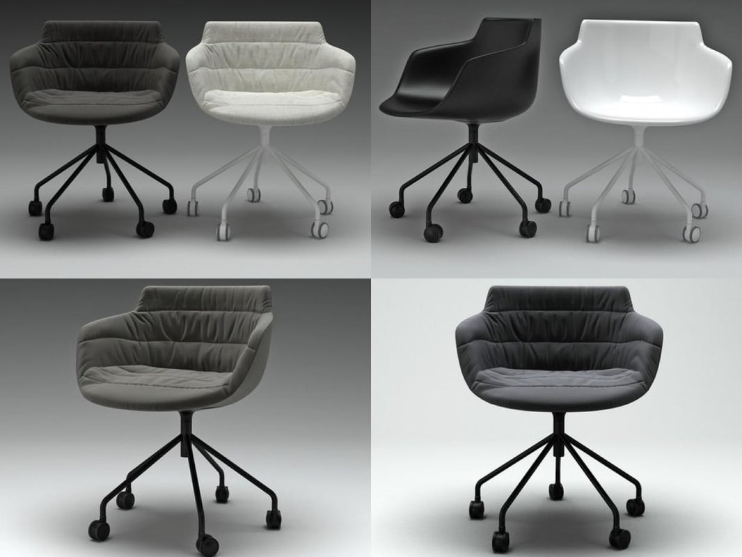 flow armchair 5 legs 3D model
