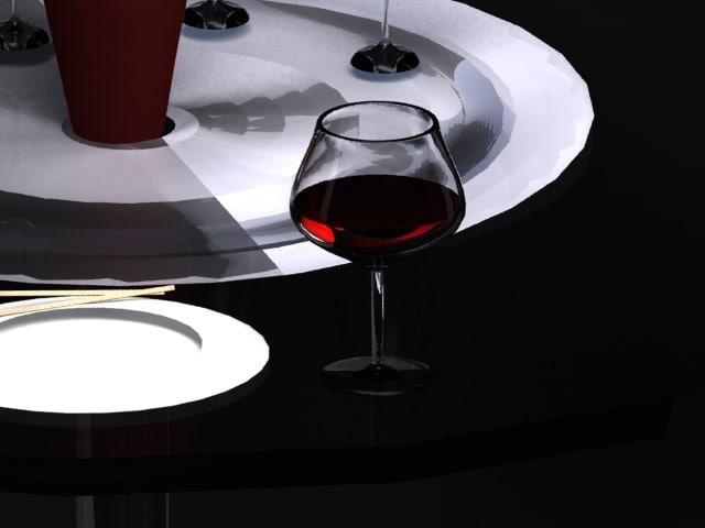 3D plates glasses wine model