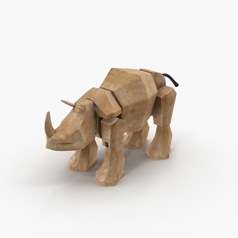 wooden toy rhinoceros 3D model