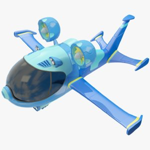 stylized science fiction aircraft 3D model