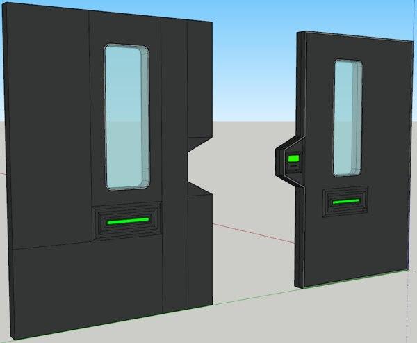 sci-fi doors animation model
