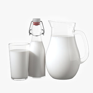 3D model realistic milk bottles