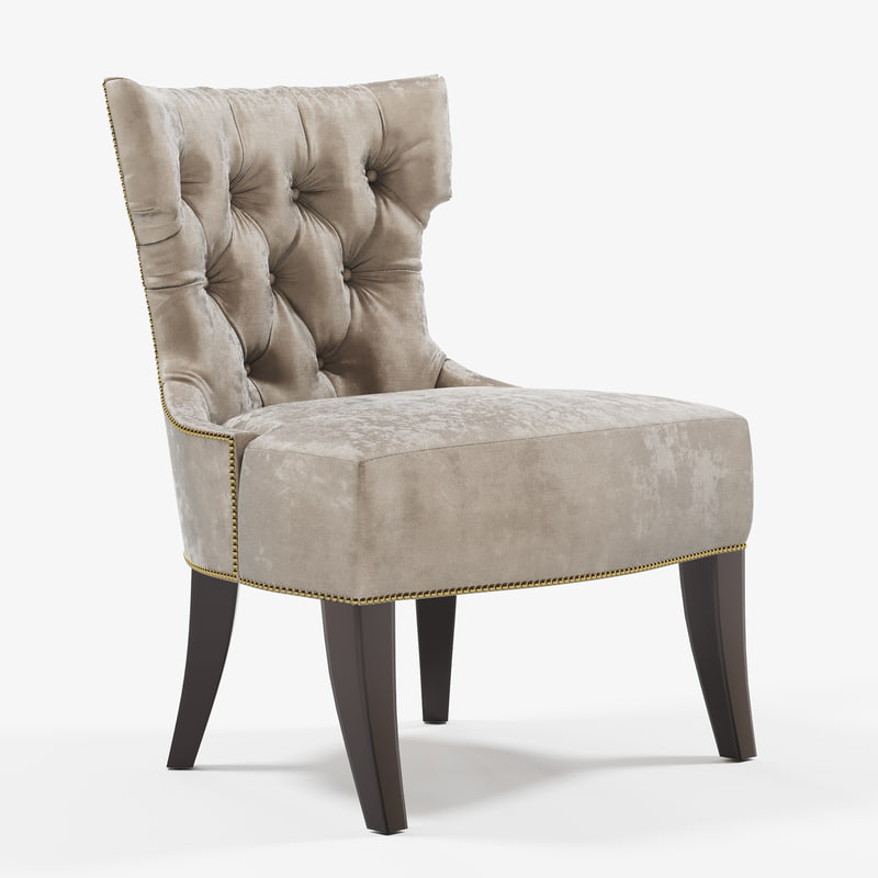 Tufted lounge chair 3D model TurboSquid