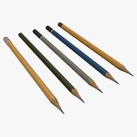 3D pencil set model