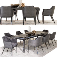 Dining Set - ALBERT-ONE Chair and NEW YORK Table with decoration