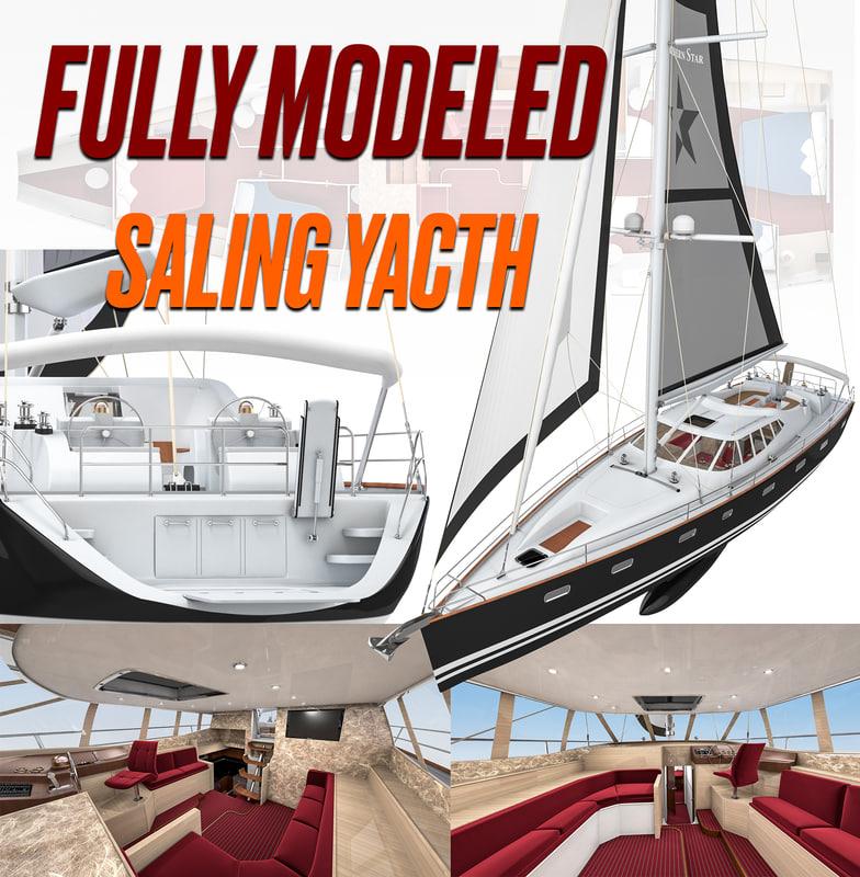 sailing motor boat 3D model
