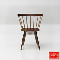 3D dwr nakashima straight-backed chair model