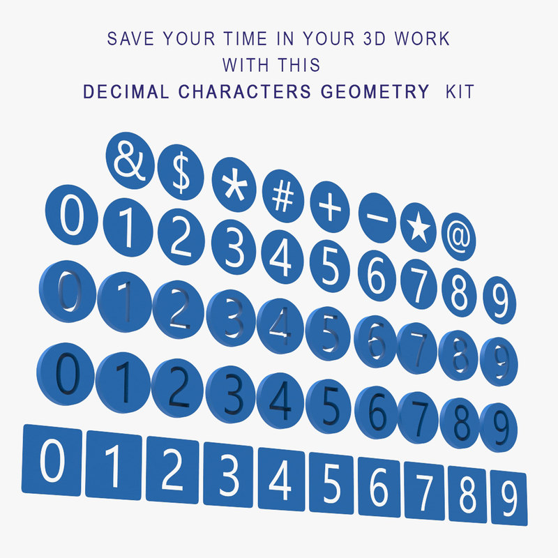 3D model numbers characters