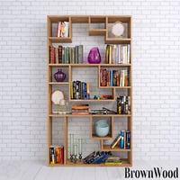 Books shelves and decor set