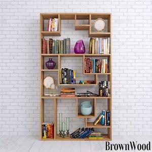 books shelves decor set 3D