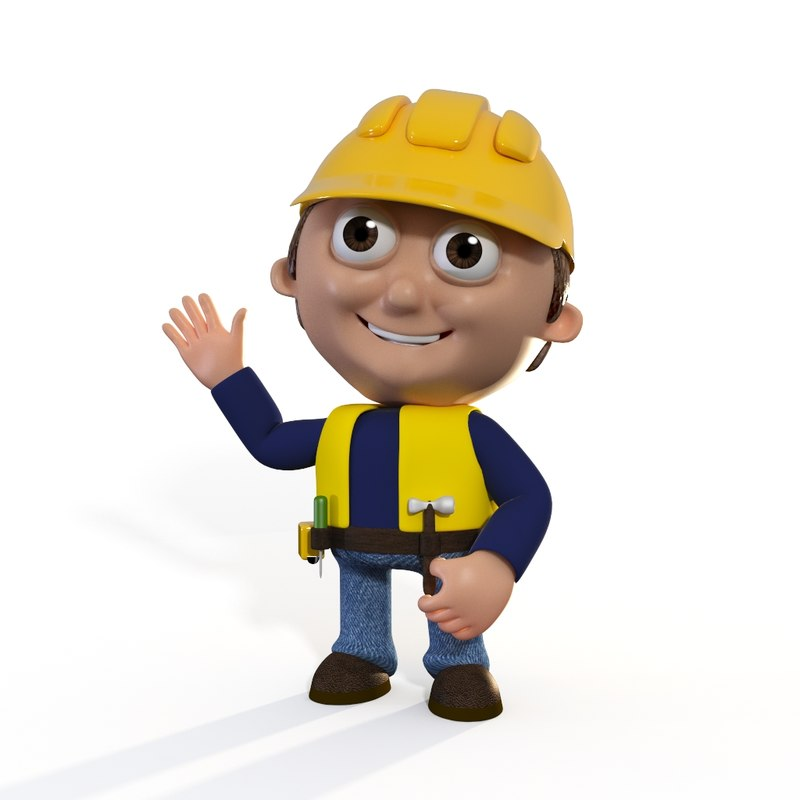 cartoon builder man 3D model