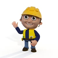Cartoon Builder Contruction Worker Man Character